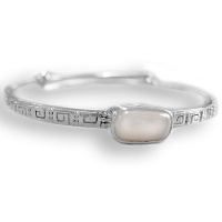 Sterling Pink Pearl Adjustable Bangle Bracelet