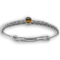 Silver Bangle Bracelet with Amber