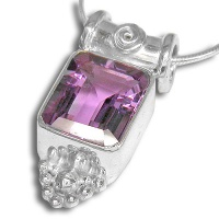 Emerald Cut Amethyst Silver Pendant and Necklace