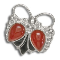 Carnelian and Shell Silver Pin/Pendant