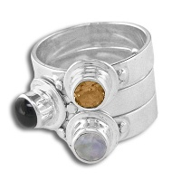 Black Star, Moonstone, Citrine Stackable Silver Ring
