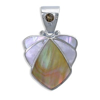 Brown Shell mother of Pearl and Smokey Quartz Pendant
