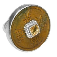 Sterling Tiger Eye Chinese Coin Ring