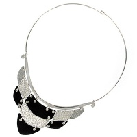 Sterling Silver and Wood Linked Plate Collar Necklace