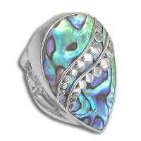 Paua Shell Silver Ring