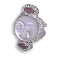 Mother of Pearl Face and Garnet Ring