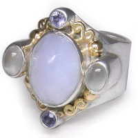 Blue Chalcedony Ring with Gold Accents