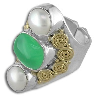 Chrysoprase and Pearl Silver and Gold Ring
