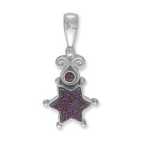 Blue Druzy Star Silver Pendant with Ruby