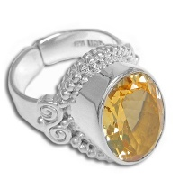 Oval Citrine Sterling Silver Ring