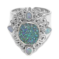 Druzy and Opal Sterling Silver Ring
