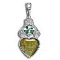 Sterling Labradorite Heart and Quartz Silver Pendant
