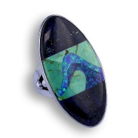 Lapis, Turquoise & Created Opal Inlay Ring