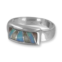 Sterling Silver Ring with Opal Mosaic Inlay