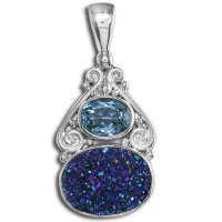 Caribbean Druzy and Swiss Blue Topaz Pendant