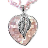 Sterling Pink MOP Mosaic Heart Pendant with Necklace