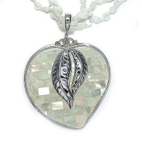 Sterling White MOP Mosaic Heart with Necklace
