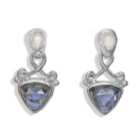 Blue Quartz Titanium-Backed Crystal Silver Post Earrings