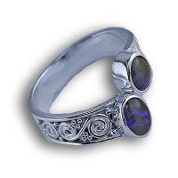 Mosaic Opal  Silver Bypass Ring