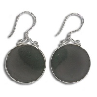 Silver Dangle Earrings with Black Shell