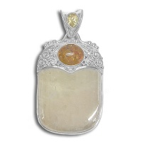 Sterling Yellow Calcite with Citrine and Amber Pendant