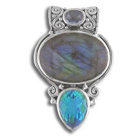 Labradorite, Celestial Blue Quartz and Rainbow Teal Quartz Pendant