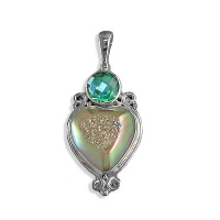 Sterling Rainbow Teal Quartz  Pendant
