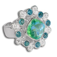 Caribbean Quartz and Blue Topaz Silver Ring