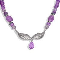 Amethyst Beaded Necklace with Silver Leaves