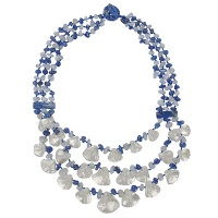 Lapis, Chalcedony, and Mother of Pearl Beaded Necklace