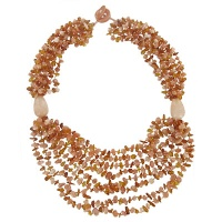 Amber and Peach Agate Beaded Necklace