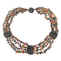 Carved Floral Onyx, Red Jasper, Tiger Eye Bead Necklace