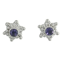 Iolite Silver Post Earrings