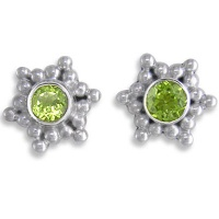 Peridot Post Silver Earrings
