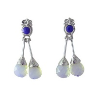 Sterling Post Earrings with Lapis and Opalite