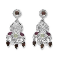 Garnet, Moonstone Ruby Silver Earrings
