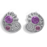 Amethyst Pink Tourmaline Post Earrings