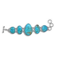 Turquoise (Stabilized) Freeform Bracelet  w/toggle