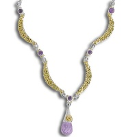 Amethyst Necklace with 18K Gold Swirls