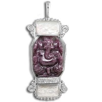 Sterling Ruby Ganesh and White Pearl Pendant
