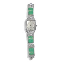 Turquoise and Pearl Silver Watch