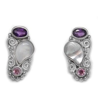 Mother of Pearl, Amethyst, and Pink Tourmaline Post Earrings
