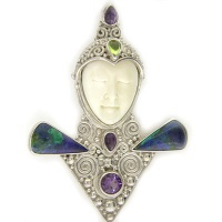 Goddess Pin-Pendant with Azurite, Amethyst, and Peridot