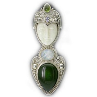 Goddess Pin-Pendant with Jade, Rainbow Moonstone, Peridot, and Iolite