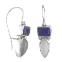 Lapis and Moonstone Dangle Earrings