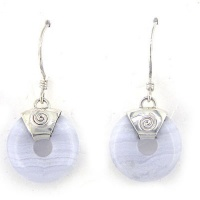 Blue Lace Agate Disk Dangle Earrings