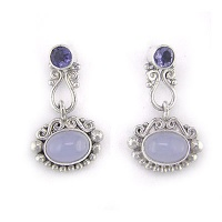 Blue Chalcedony and Iolite Earrings
