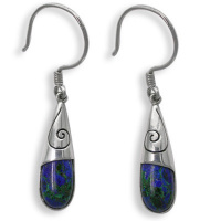 Azurite Sterling Silver Earrings with Swirl