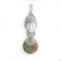 Goddess Pendant with Unakite, Rose Quartz, Peridot, and Pink Tourmaline