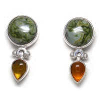 Rhyolite & Amber Post Earrings